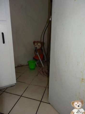Duffy the Disney Bear mops kitchen floor