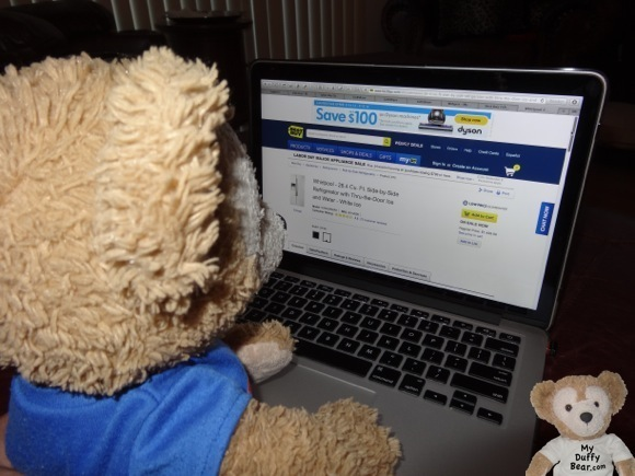 Duffy the Disney Bear surfs Best Buy web-site for refrigerator