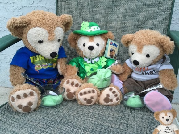Duffy the Disney Bear shares some lime sherbet with Little Joe & Saint Patrick's Day Duffy the Disney Bear