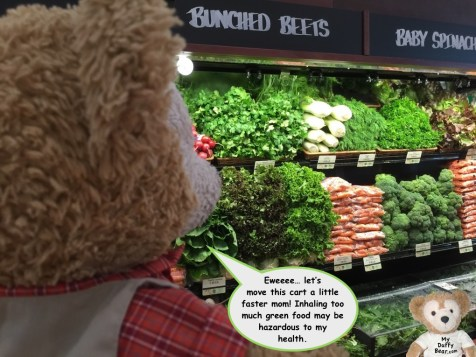 Duffy the Disney Bear at the Fresh Market produce department