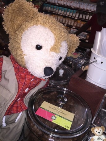 Duffy the Disney bear wants to take home Milk Chocolate Caramel Pecan Patties from The Fresh Market