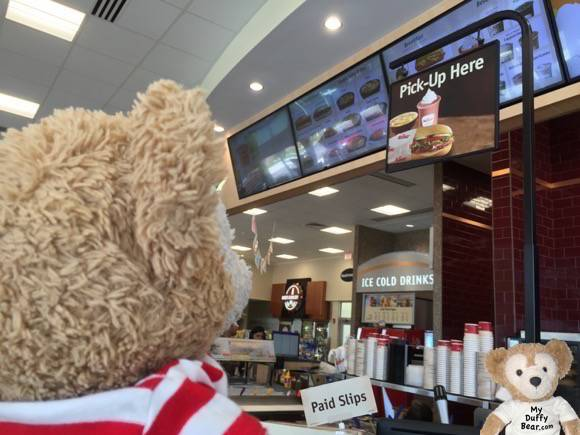 Duffy the Disney Bear waits for his smoothie to be made