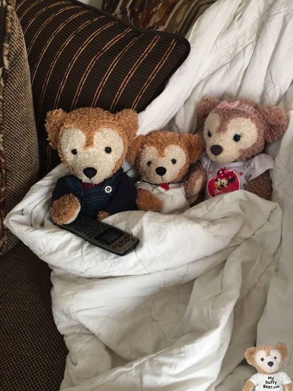 Duffy the Disney Bear, Little Joe & ShellieMay snuggle up on the couch to watch movies