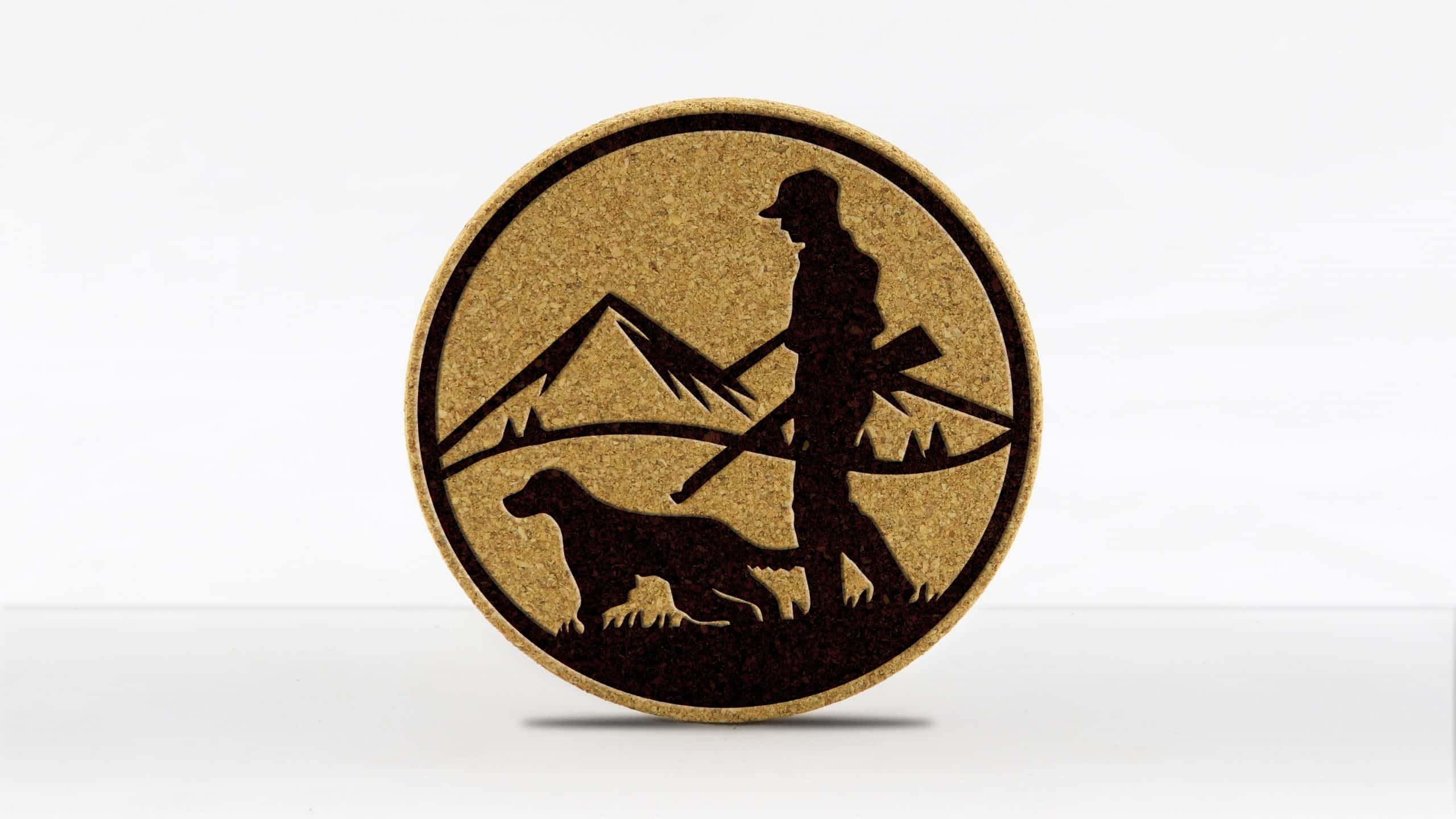 4in round coaster - Hunter and Dog
