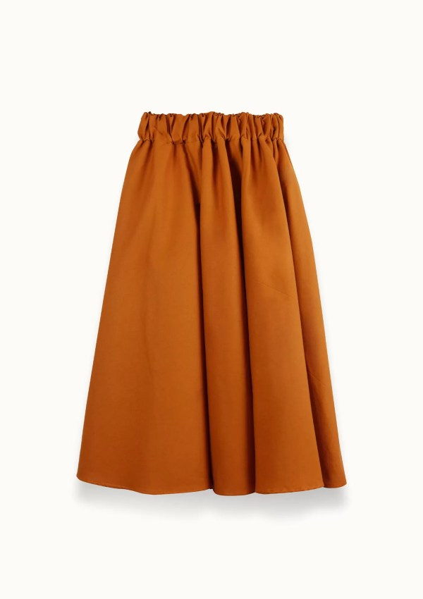 orange skirt made from organic and recycled cotton - back