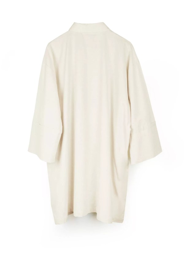 Beige cotton shirt with medium sleeves - back
