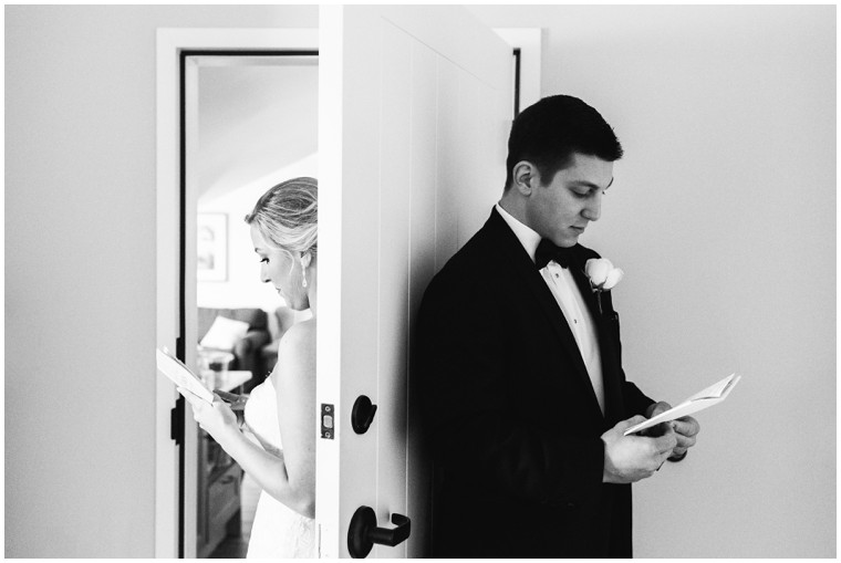 bride and groom first look letters