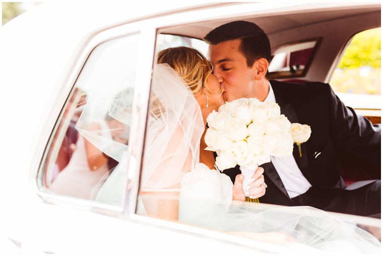 bride and groom limo ride