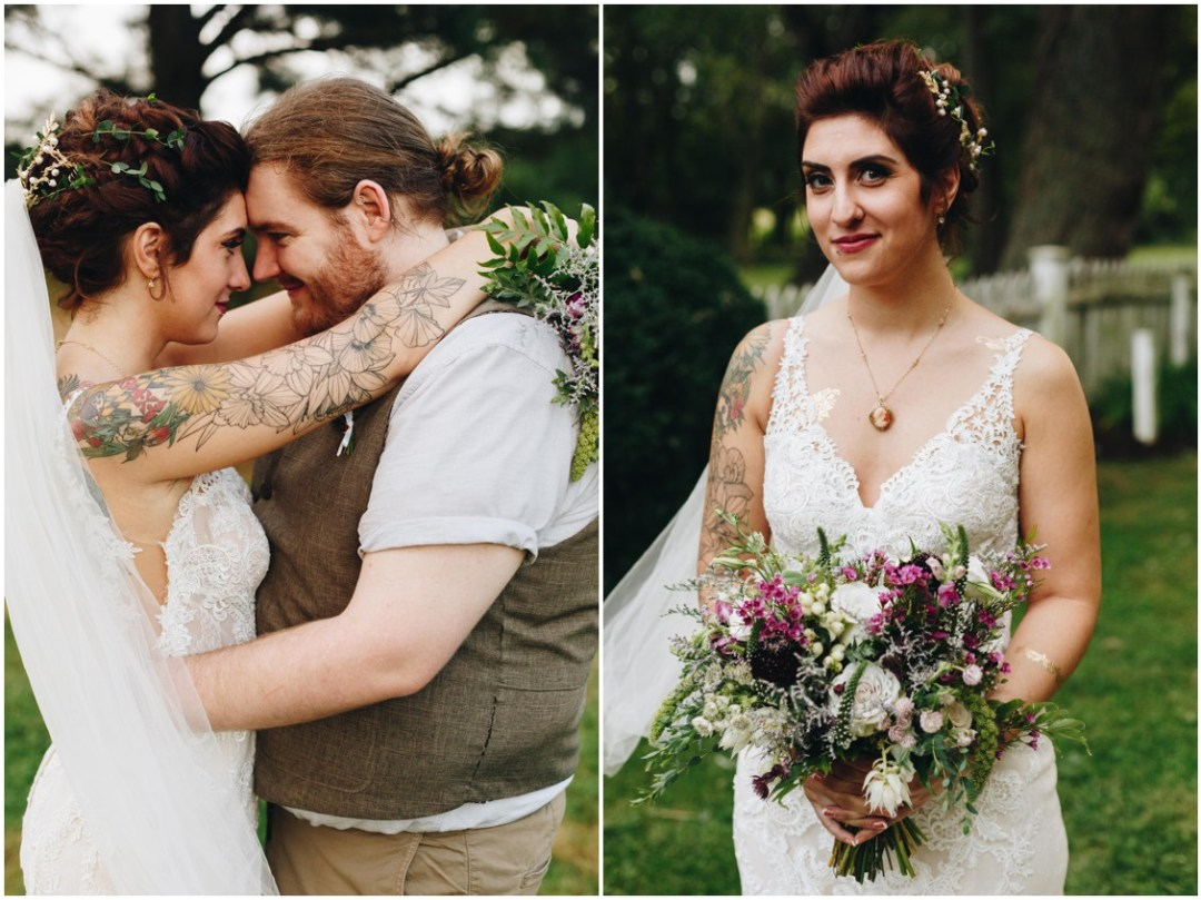 Floral tatto sleeved bride, loose floral bouquet by Keleidoscope Custom Florals + Butterbee Farm, and hair by Hair Rehab. |Eastern Shore Wedding|