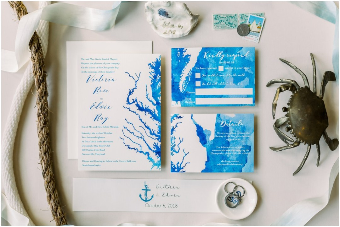 White and blue map stationery. | My Eastern Shore Wedding |