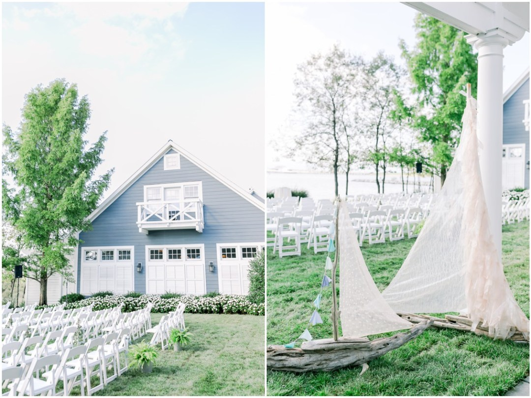 Chesapeake Bay Beach Club ceremony setup + Driftwood sailboats. | My Eastern Shore Wedding |