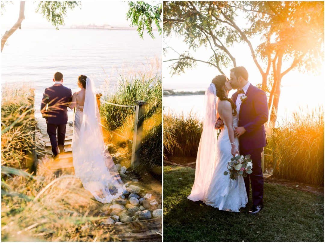 Bride and groom together at sunset at the Chesapeake Bay Beach Club. | My Eastern Shore Wedding |