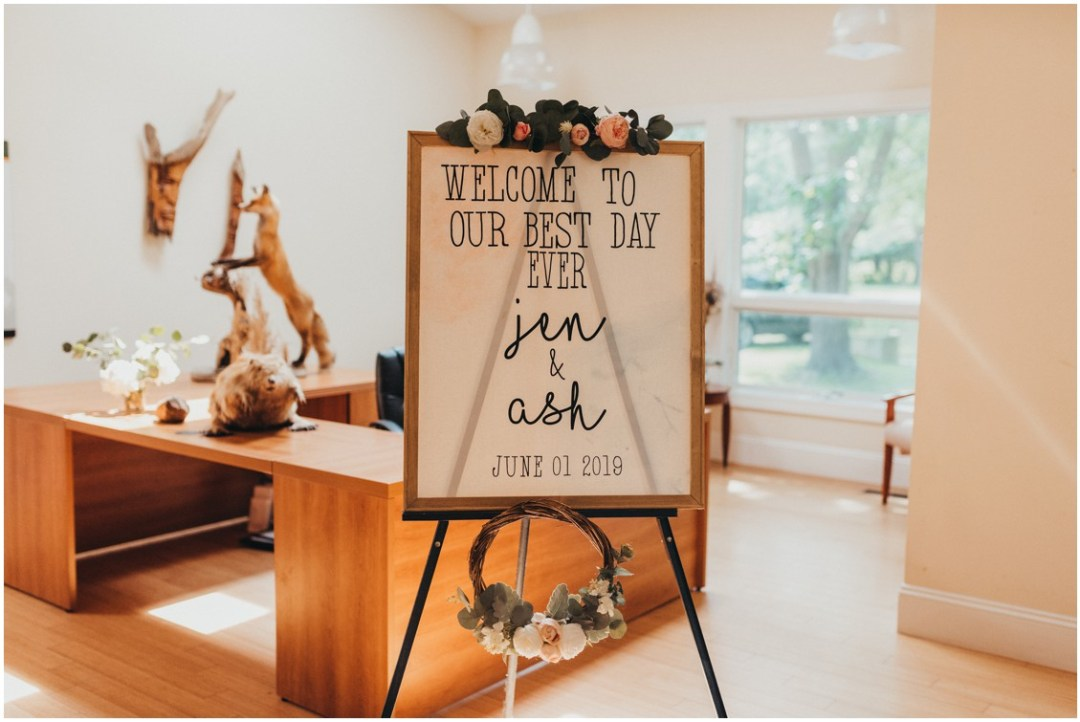 Welcome sign to Jen and Ash's wedding. | My Eastern Shore Wedding |
