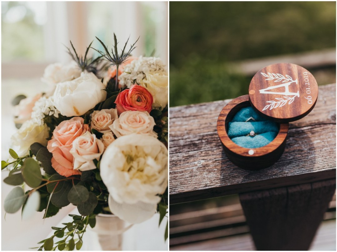 Floral bouquet by Seaberry Farm, wedding rings in engraved wooden case. | My Eastern Shore Wedding |