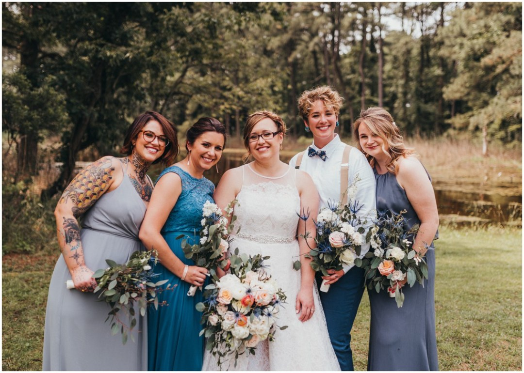 Bride with her bridal party, holding Seaberry Farm bouquets. | My Eastern Shore Wedding |