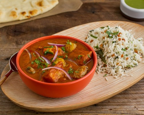 """Freakin' awesome! ...you got the spice level perfect! Not too hot, but definitely spicy. Best Vindaloo I've had since the UK!"" -Bruce M."