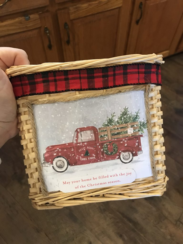 finished red truck basket tree stand