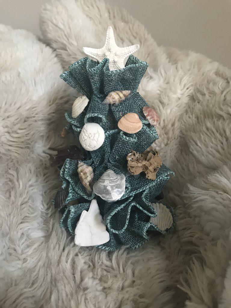 seashells added to ribbon ruffle tree