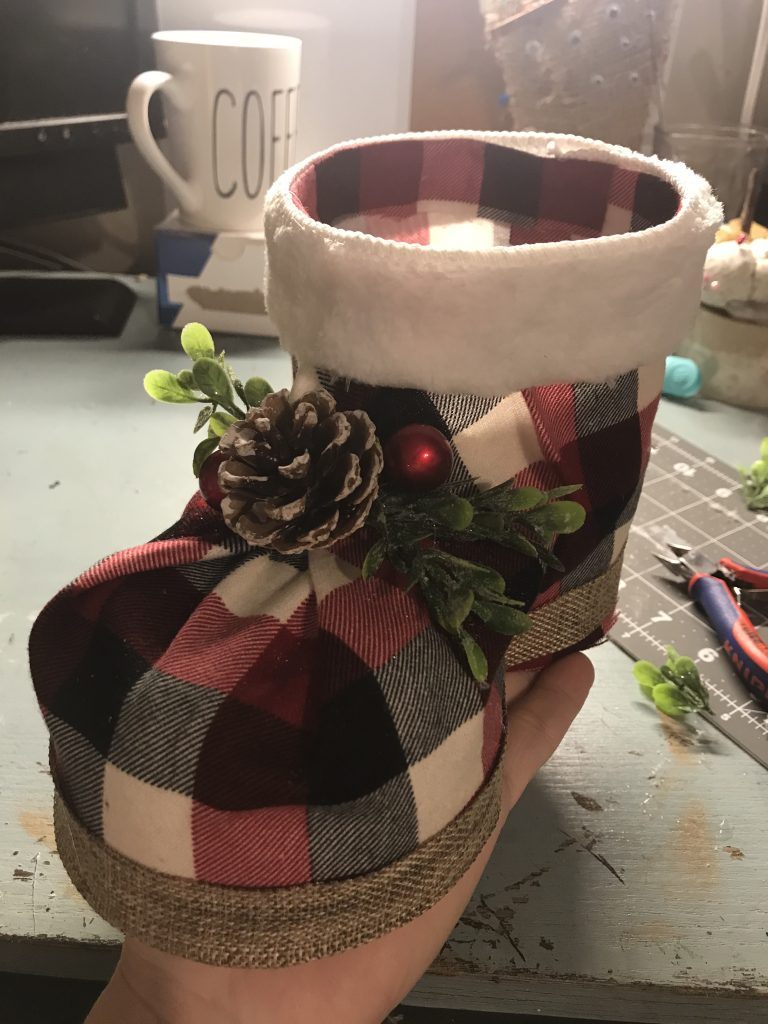 embellishments added to Christmas boot
