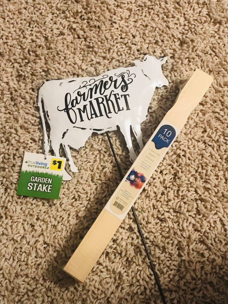 famers market cow metal garden pick and a pack of paint sticks for farm house signs