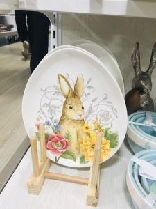 glass easter plate bunny rabbit decor