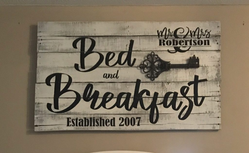 bed and breakfast pallet wood sign farmhouse bedroom rustic decor
