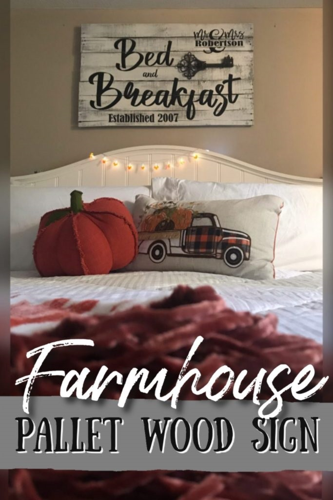 farmhouse pallet wood sign bed and breakfast bedroom rustic sign