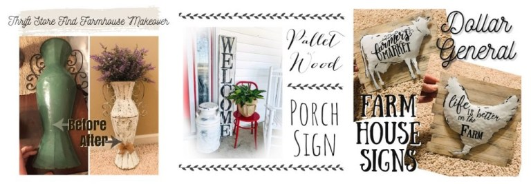 Farmhouse inspiration DIY projects pallet wood porch sign dollar store sign thrift store makeover rustic decor