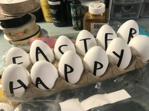 the vinyl letters for Happy Easter added to eggs