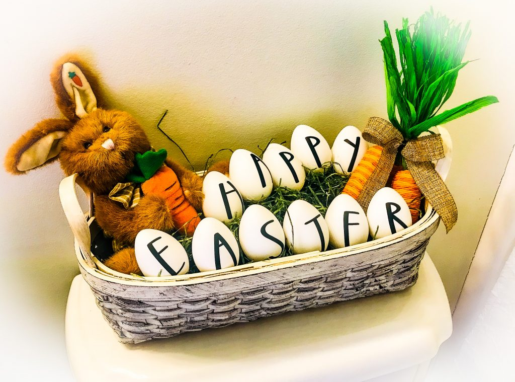 rae dunn easter egg basket happy easter bunny and carrots