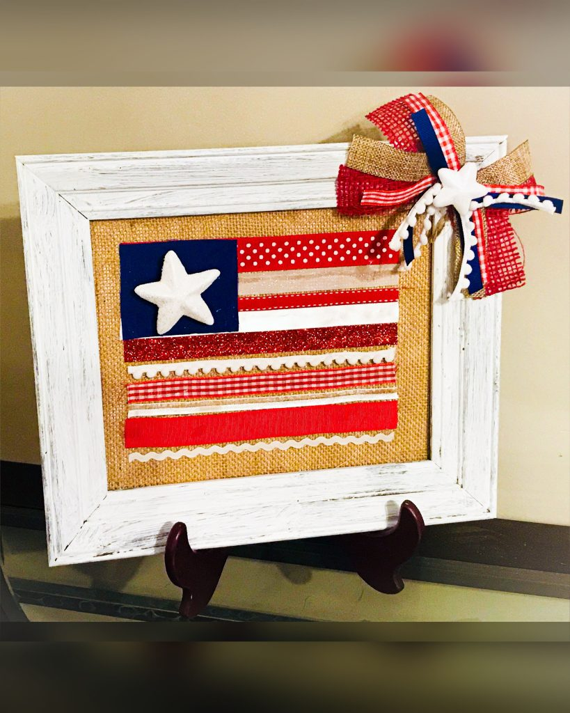 patriotic frame using ribbon