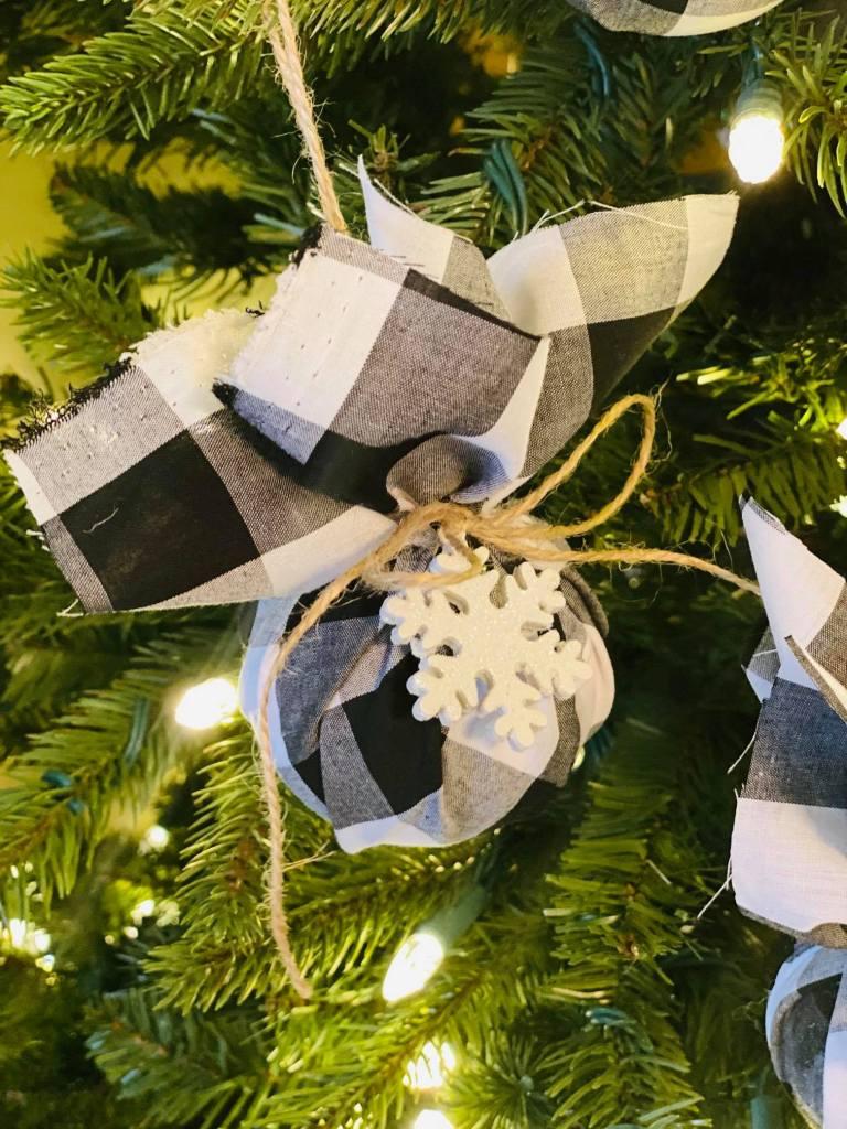 fabric ball ornaments buffalo plaid and snowflakes