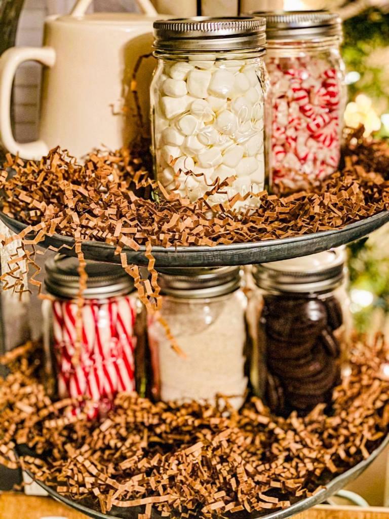 hot cocoa condiments in mason jars