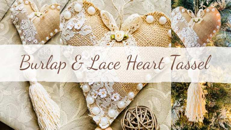 burlap and lace heart with tassel