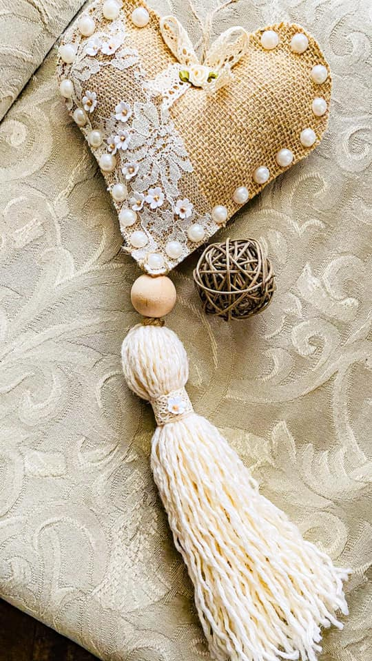 burlap and lace heart tassel