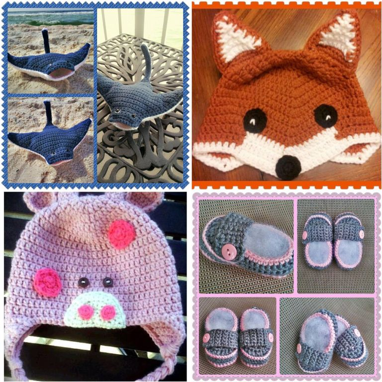 crochet collage | crochet fox beanie | crochet sting ray amigurumi | crochet pig beanie | crochet baby shoes