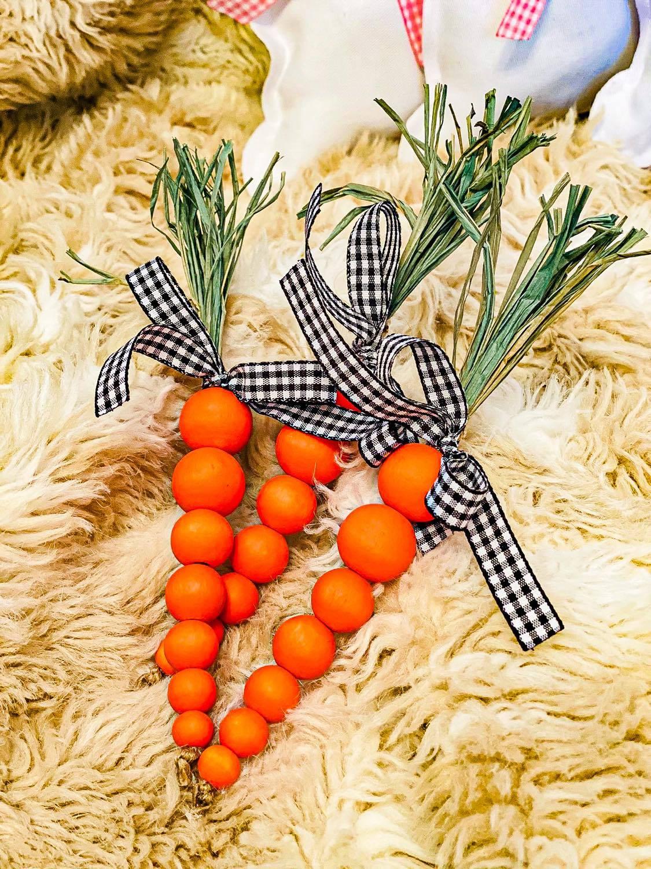 Wood Bead Carrots – Easter Basket Filler