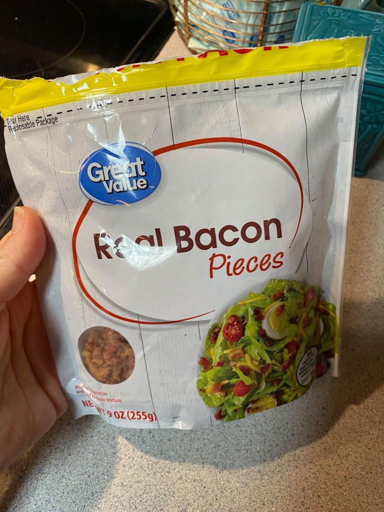 real bacon pieces added to a chicken noodle soup recipe