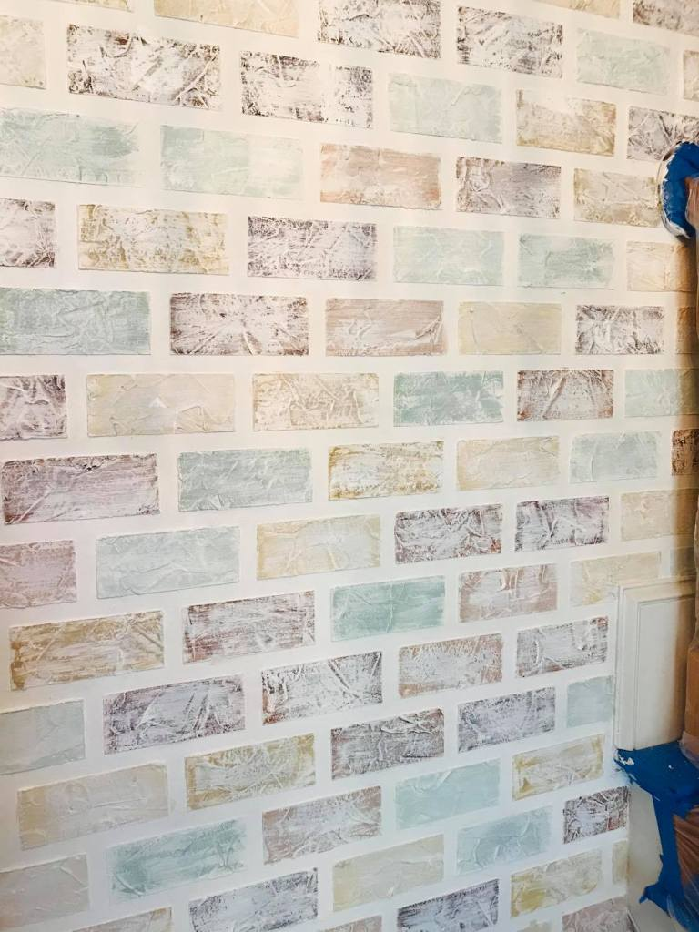 """painting a white wash over painted """"bricks"""" for a faux brick design on a wall 