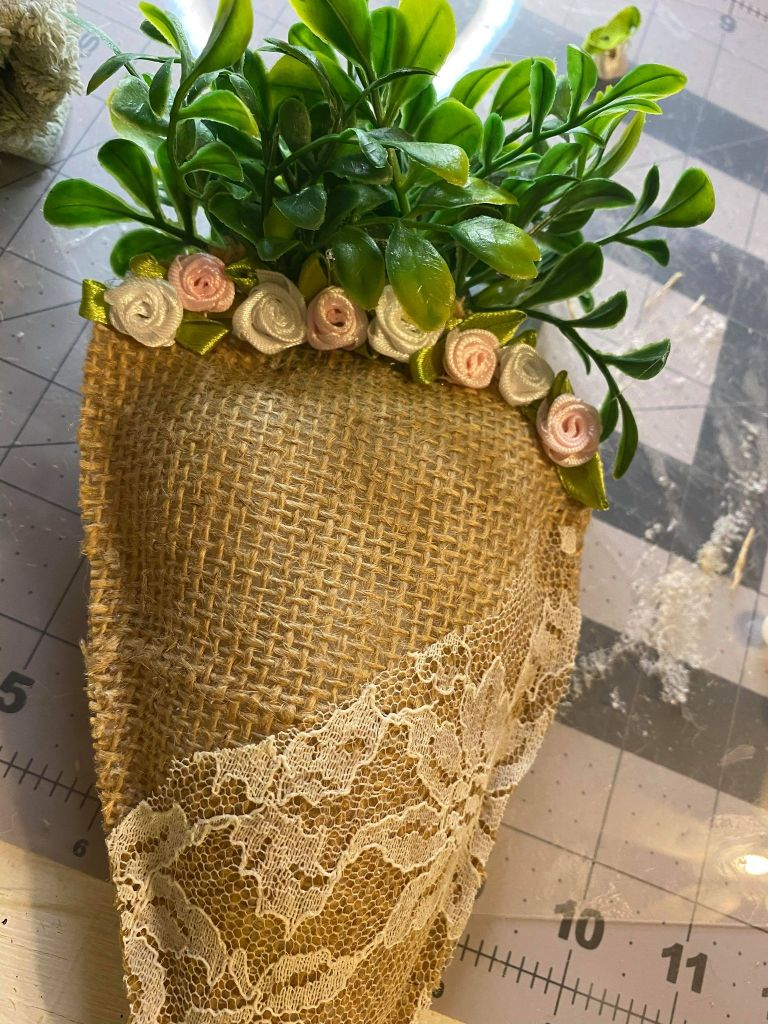 rosettes added to a burlap carrot