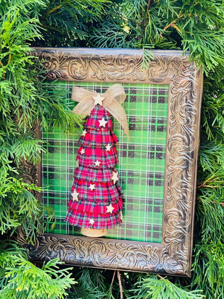 plaid ruffle christmas tree #plaidchristmastree #styrofoamchristmastree #styrofoamchristmascraft #styrofoamcrafts
