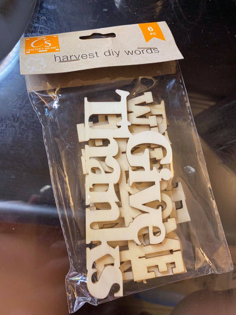 wooden words from the Dollar Tree