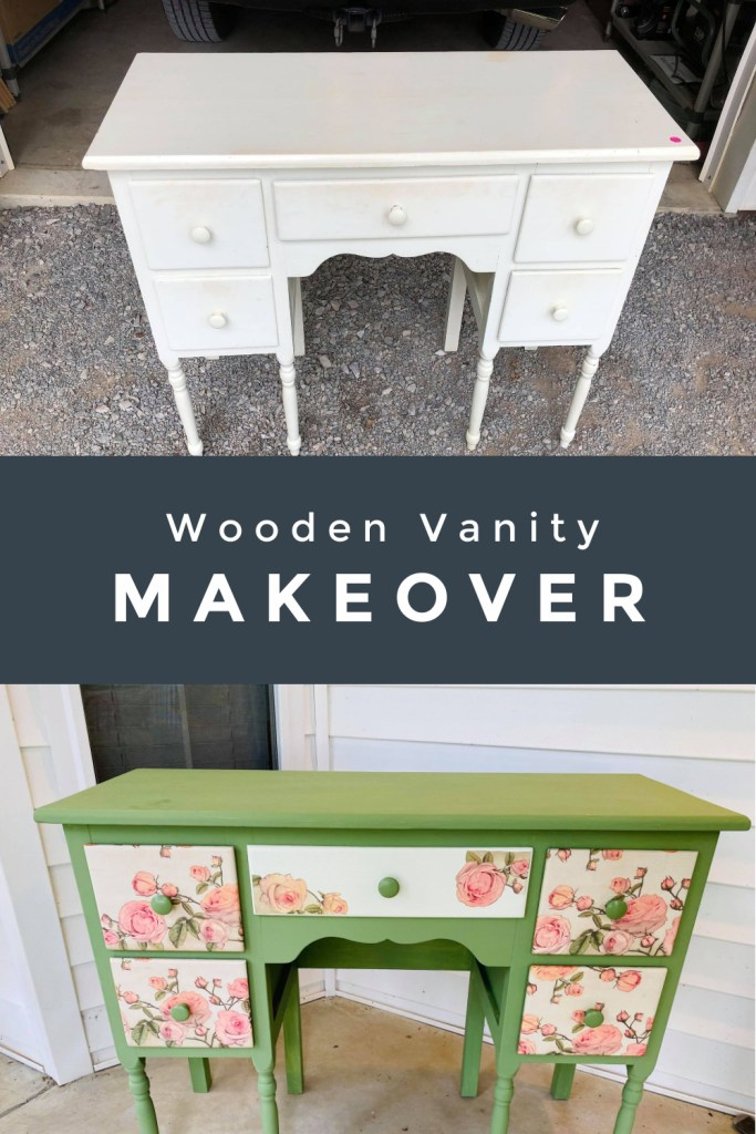wooden vanity makeover using green chalk paint and a coordinating rose napkin