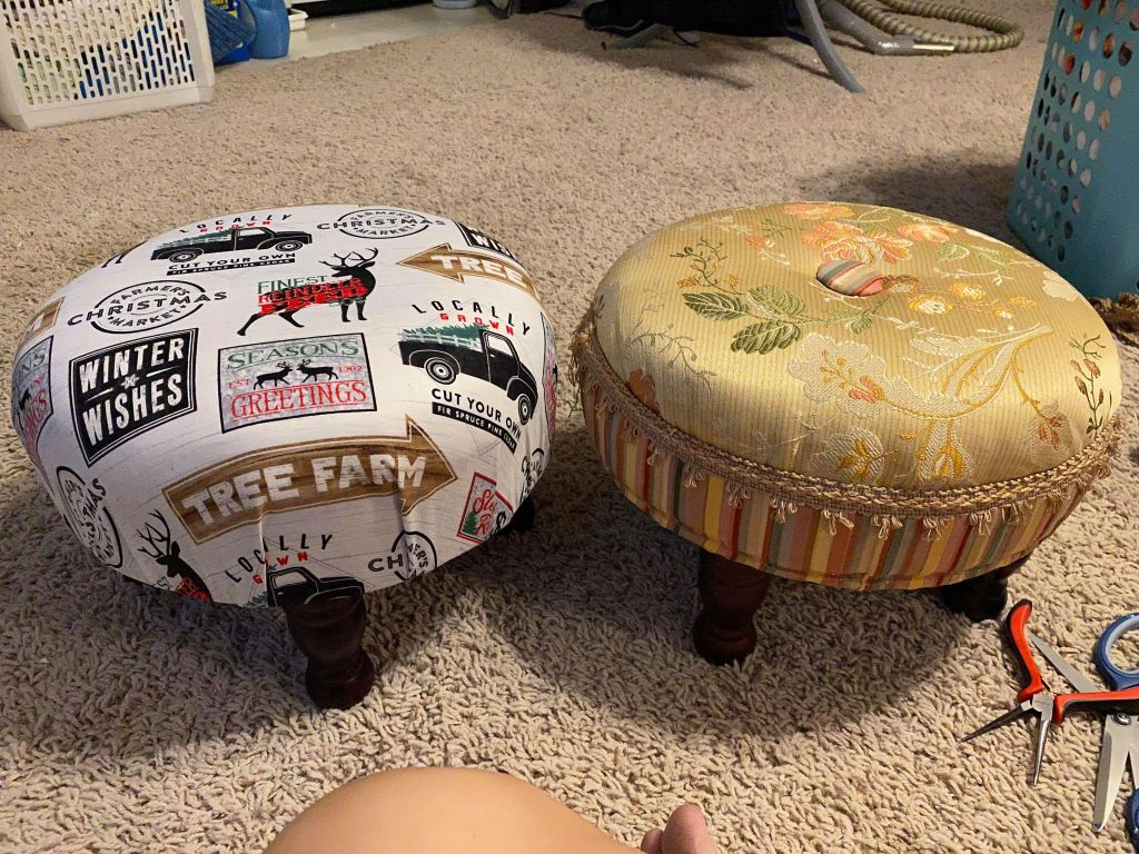 thrift store footstool transformation / how to transform a thrifted footstool