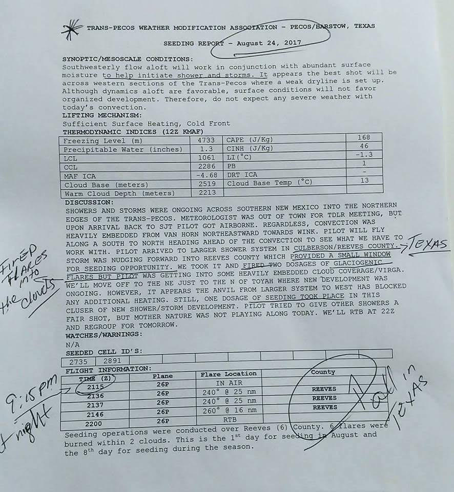 Cloud-Seeding Report Filed On August 24th In Texas County