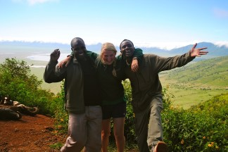 """Laughing on the crater with """"Davinah Expeditions."""""""