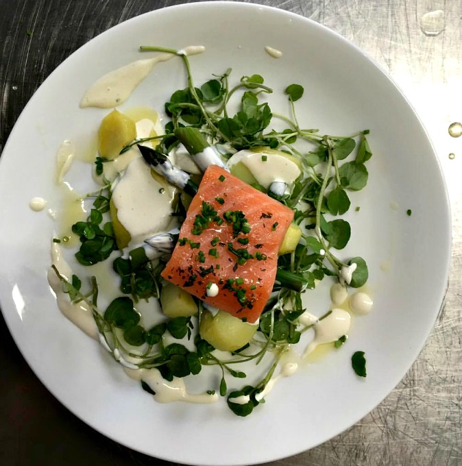 Confit of Salmon Salad with kipfler potatoes, watercress, asparagus and creme fraiche dressing