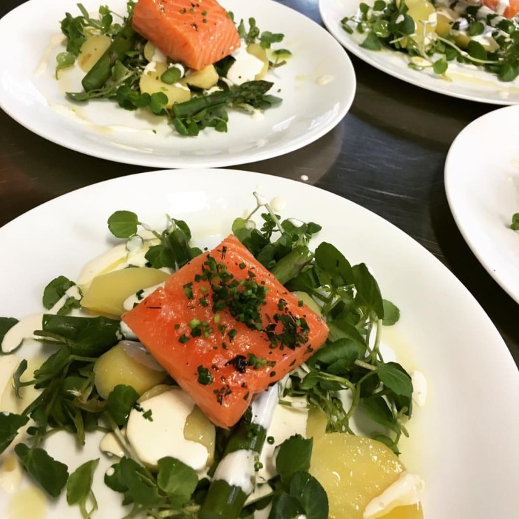Confit of salmon salad