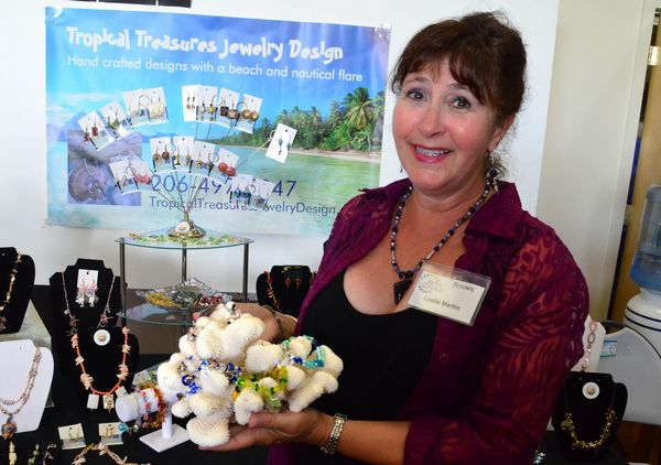 Leslie Martin specializes in tropical island style jewelry made from coral, shells and other natural materials.