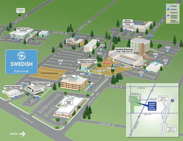 This map shows the location of the new parking garage (tan area to the left), presently under construction. When the garage opens this June, construction will begin on the new emergency and urgent care facility in what is currently a parking area just east of the present main building (tan area, center).